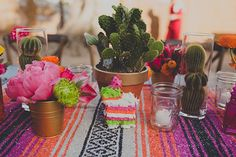mexican-themed california wedding (via 100 layer cake) Mexican Themed Weddings, Summer Centerpieces, Centerpiece Ideas, Cactus Centerpiece, Mini Pinatas, Fiestas Party, 100 Layer Cake, Deco Floral, Floral Design