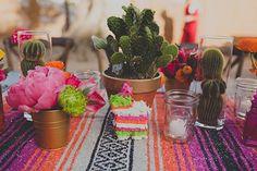 mexican-themed california wedding (via 100 layer cake) Summer Centerpieces, Centerpiece Ideas, Cactus Centerpiece, Table Decorations, Mexican Themed Weddings, Mini Pinatas, Party Fiesta, Fiestas Party, 100 Layer Cake