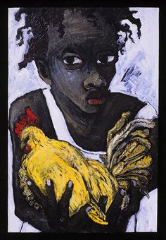 """Yellow Chicken"" by Franceska Schifrin http://www.galerielakaye.com/art_world_schifrin10.html"