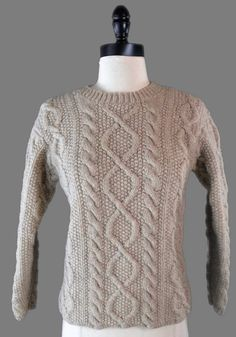 J Crew Sweater Sz Petite Small 100% Wool Oatmeal Beige Fisherman Cable Knit  #JCrew #Crewneck