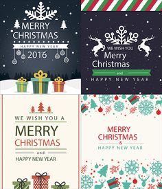 2016 Christmas and New Year backgrounds, cards vector