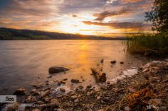 Lake at sunset - Pinned by Mak Khalaf Landscapes Lakesunsunsetwater by WaldyWhite