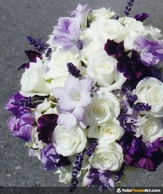 Assorted white and purple bouquet