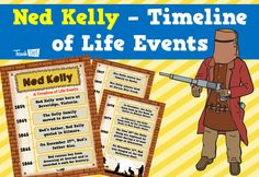 Ned Kelly - Timeline of Life Events :: Teacher Resources and Classroom Games Road Trip Activities, Math Activities, Classroom Games, Classroom Displays, Kelly's Heroes, Ned Kelly, The Kelly Family, Teacher Resources, Teaching Ideas