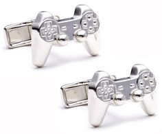 Sony PlayStation controller cuff links - sterling silver makes them geek chic. awesomely-geeky-the-gaming-monkey Video Game Wedding, Geek Wedding, Wedding Ideas, Wedding Planning, Wedding Inspiration, Designer Cufflinks, Game Themes, Game Controller, Geek Chic