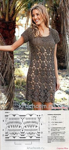 *Платье филигранным красивым узором. - Все в ажуре... (вязание крючком) - Страна Мам