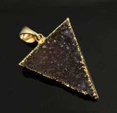 Dazzling Druzy Triangle Pendant in Stunning Earth Tones, Heavy Gold Plated, 29x33mm, A+ Gorgeous Quality, Electroplated Edge (DZY/TRI/132) by Beadspoint on Etsy
