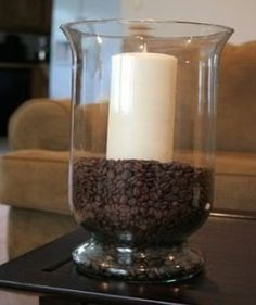 Vanilla candle with coffee beans! Would smell amazing!!!