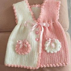 Baby Boy Coming Home/Baptism Outfit Crochet Pattern Crochet Bunny, Crochet For Kids, Knit Crochet, Baby Vest, Baby Cardigan, Baby Knitting Patterns, Baby Patterns, Knit Baby Sweaters, Crochet Buttons