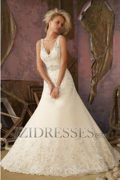 A-Line Spaghetti Straps Organza Wedding Dress - IZIDRESSES.COM at IZIDRESSES.com