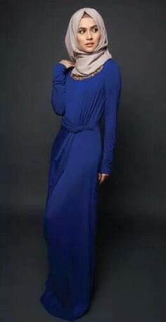 chic maxi blue dress / hijab and dresses #modestclothing #fashionmodesty #thehijabstyle islam is beautiful. muslim ladies fashion styles pretty love it!