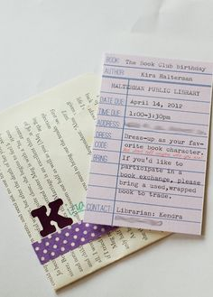 book party invites - book exchange party; cute idea
