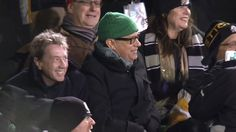 Tom Hanks and Martin Short at 101st Grey Cup Tom gets the correct toque on eh!