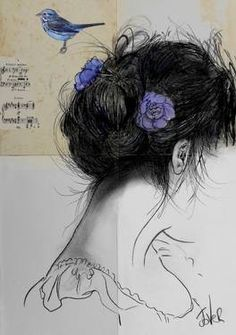 """""""where i end and you begin,"""" original portrait drawing by artist Loui Jover (Australia) available at Saatchi Art #SaatchiArt."""
