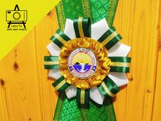 Customized rosette lei for the Philippine Coast Guard Marine Environmental Protection Command Ribbon Lei, Ribbon Rosettes, Handmade Crafts, Diy Crafts, Personalized Ribbon, Gold Ribbons, Brocade Fabric, Leis, Dog Show