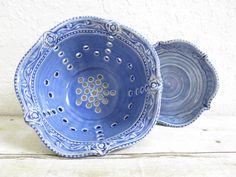Ceramic Berry Bowl Strainer Set Colander by MyMothersGarden, $31.00