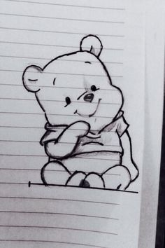 Image via We Heart It #adorable #bear #blackandwhite #disney #drawing #line #mine #notebook #simple #winniethepooh #cute