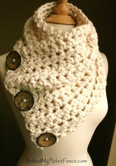 The Original BOSTON HARBOR SCARF Warm, soft & stylish scarf with 3 coconut buttons - Cream with Tan Buttons