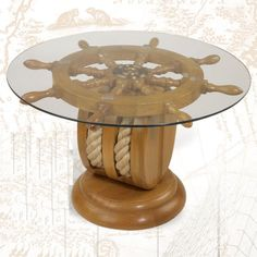 18 x Ship wheel Table Nautical Furniture Solid hardwood Authentic rope detail Golden Oak stain Brass ship wheel center 18 H X Diameter. Be the envy of all your shipmates when they set their eyes on this splendid wooden Ship's Wheel Table in Nautical Furniture, Nautical Table, Nautical Design, Nautical Home, Table Nautique, Coffee Table Plans, Block Table, Small Wood Projects, Ship Wheel