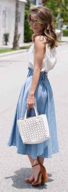 #spring #summer #outfitideas | White Top +Midi Chambray Skirt | The Style Bungalow                                                                             Source
