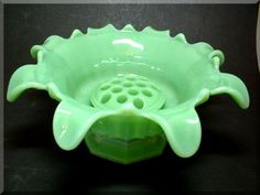 Sowerby art deco jade green glass bowl with flower frog