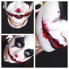 Scary clown makeup. Perfect for our family costumes this year!