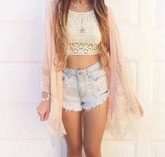 Image via We Heart It #clothes #fashion #girl #longhair #outfit #shorts #style #summer