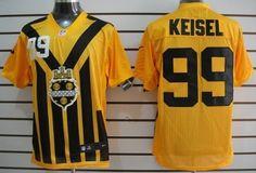 Nike Pittsburgh Steelers #99 Brett Keisel 1933 Yellow Throwback Jersey