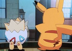 Pikachu and Togepi watching the Pidgey and Pidgeotto