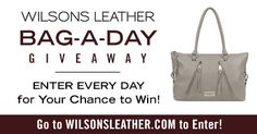 Enter Wilsons Leather Bag-a-Day giveaway each day for a chance to win one of our genuine leather bags! Share & get 10 bonus entries when your friends enter. Ends 8/6/17. #giveaway #win #wilsonsleather