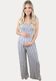 Summer Maternity Stripes - Sexy Mama Maternity Maternity Jumpsuit, Cute Maternity Outfits, Pregnancy Outfits, Maternity Dresses, Summer Maternity, Pregnancy Months, Smocking, Tie, Female