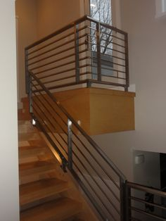 handrails for inside staircases | Interior, Contemporary Stainless Steel Handrail Staircase : Impressive ...