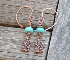 Turquoise earrings copper wirework and charm door TopaTopaDesigns