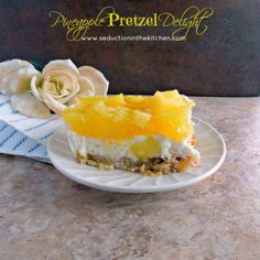 Pineapple Pretzel Delight is a pineapple twist onto the old strawberry pretzel salad.A recipe from Seduction in the Kitchen