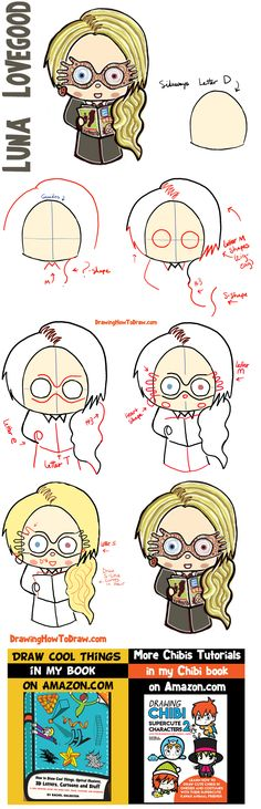 How to Draw Cute Chibi Luna Lovegood from Harry Potter in Simple Steps - How to Draw Step by Step Drawing Tutorials Easy Drawings Sketches, Cartoon Drawings Of People, Drawing Cartoon Characters, Cartoon Girl Drawing, Drawing People, Cute Drawings, Pencil Drawings, Hair Drawings, Cartoon Faces