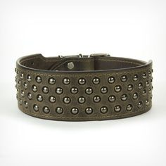 """2"""" Leather Dog Collar with Studs in Crazy Horse Leather - Genuine Collars"""