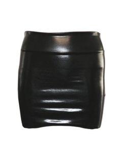 Black Shiny Liquid Mini Skirt Elastic Waist Band