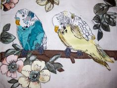Budgerigar embroidery by Dani Wood