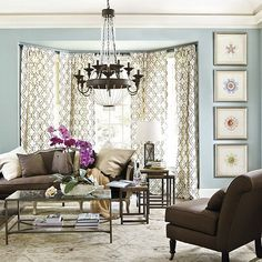Love it, especially the bay window init!  Decorating around brown sofa//lighten up