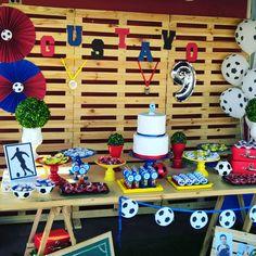 Festa Futebol Barcelona Party, Champions League, Holiday Decor, Children, Birthday, Soccer Party, Ideas Aniversario, Masculine Party, Theme Parties