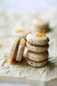 Orange Clove chocolate macarons