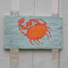 Primitive Funky Folk Art Orange Crab Original Painting Beach House.