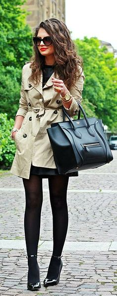 Fall / Winter - street chic style - office wear - work outfit - little black dress + black tights + black patent leather stilettos + kaki trench coat + black handbag + sunglasses + red lips