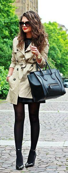 Fall / Winter - street chic style - office wear - work outfit - little black dress + black tights + black patent leather stilettos + kaki trench coat + black handbag + sunglasses + red lips