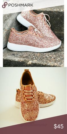 Rose Gold Glitter Sneakers @blushonme at Poshmark   Rose Gold glitter sneakers   True to size  If you're in a half size go up a size.  Ex. 7.5 ...grab an 8.  ● PRICE IS FIRM ● Shoes Sneakers