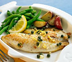 Try our 5-day meal plan for weight loss, like Baked Tilapia and Vegetables with Salad #healthy #recipes