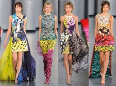 Katrantzou's graduation show in 2008 defined her signature style. It featured trompe l'oeil prints of oversized jewelry on jersey dresses, pieces that created the illusion of wearing giant neckpieces that would be too heavy in reality. She also designed real pieces of jewelry made out of wood and metal that were exact replicas of the prints.