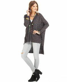 Free People Sweater, Long-Sleeve High-Low Cardigan