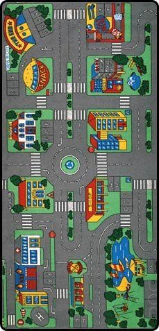 Children's Playful City 7x10 Rug Cars Buses Roads Actual Size 7 ...