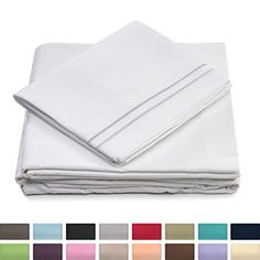 Bed Bath Outlet 1800 Series Ultra Soft 4 Piece Eco-Friendly Deep Pocket Bamboo Bed Sheets 3 Line Pillow Selection Hypoallergenic and Wrinkle Resistant King, White